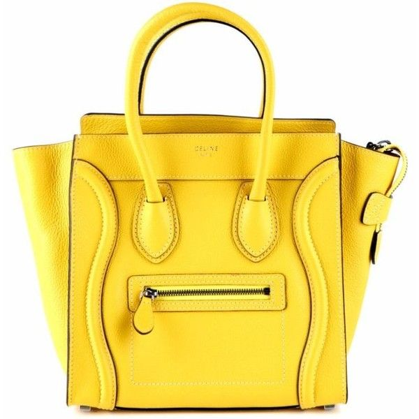 Micro Luggage Tote (€2.530) ❤ liked on Polyvore featuring bags, handbags, tote bags, handbags totes, yellow purse, tote bag purse, yellow tote handbag and yellow tote bag