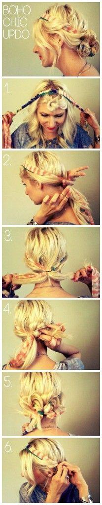 tuto de #coiffure foulard cheveux boheme