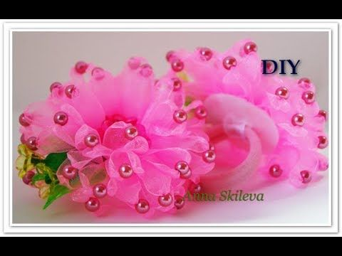 Резиночки для волос Цветок из узкой ленты с бусинами . DIY/ - YouTube