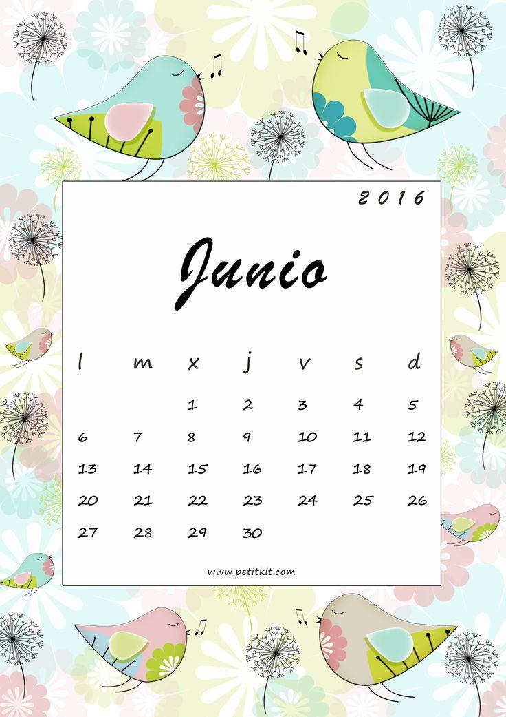 Calendario imprimible mensual + fondo de pantalla (junio) - free