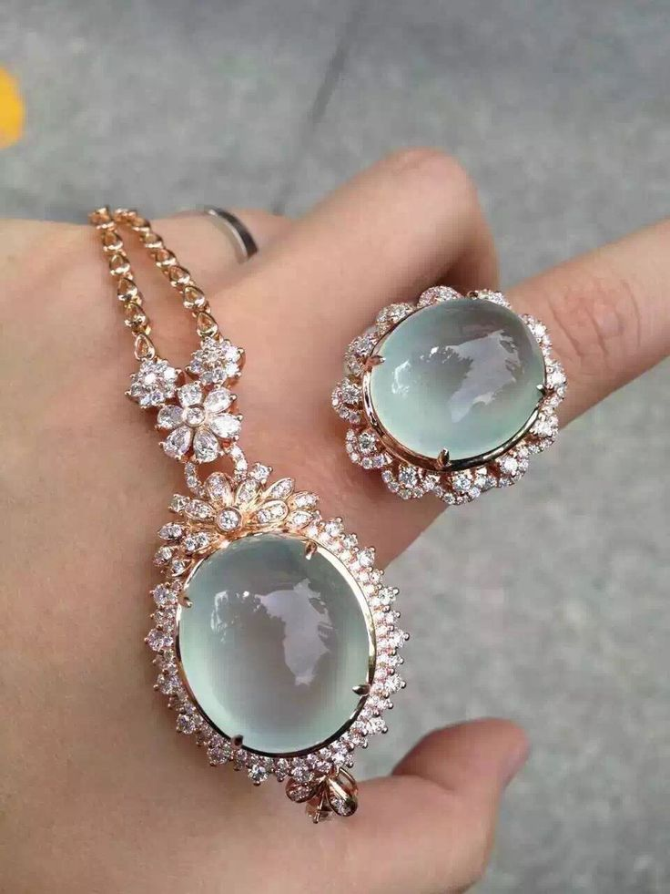 Transparent icy clear jade pendant ring jewelry set ~ 20K