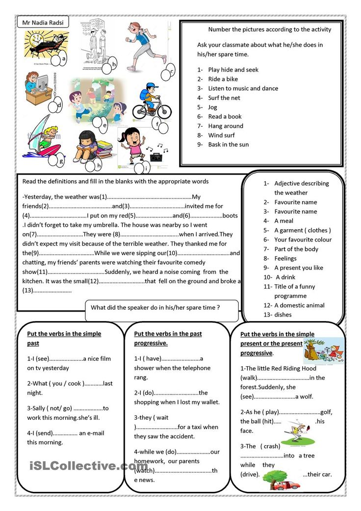 Worksheet on spare time and past continuous  Worksheet of