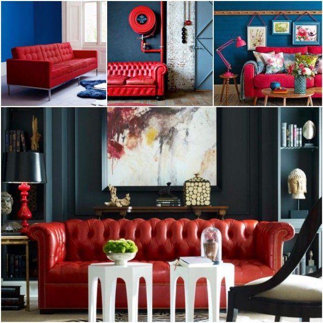 Les 25 meilleures id es de la cat gorie canap rouge sur pinterest canap d cor rouge salles - Mur bleu petrole ...