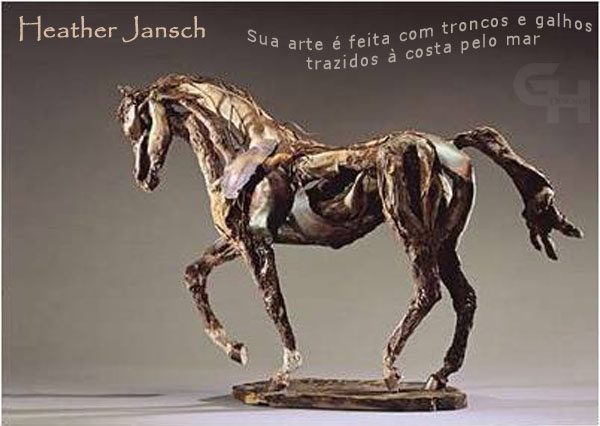 Heather Jansch  His art is made of logs and branches brought by the sea until the coast.
