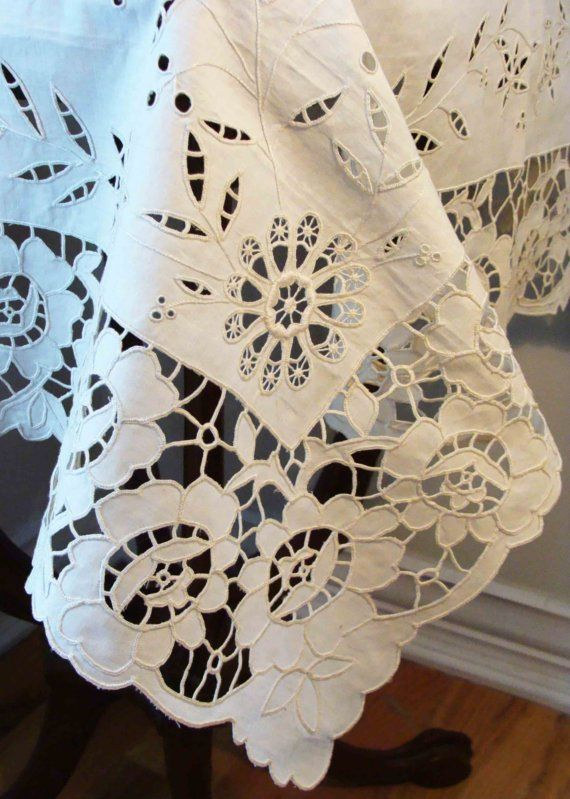 Circa 1910s Never Used Exquisite Cut and Embroidered Table Topper Lovingly kept In An Italian Trousseau