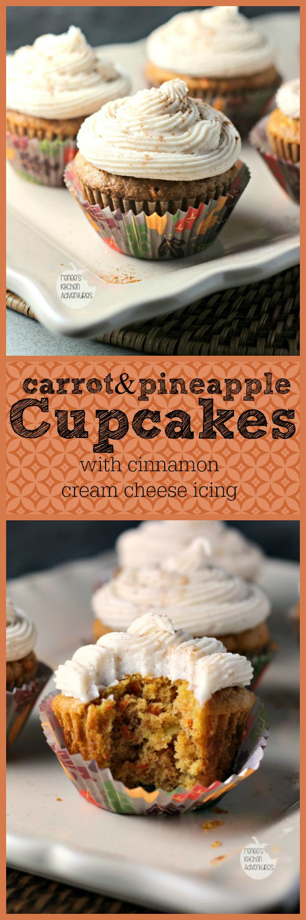 Delicious, moist carrot cake type cupcakes spiced with cinnamon and fresh ginger | Renee's Kitchen Adventures
