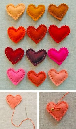 cute heart pins. crafts w/ kids when a bit older?