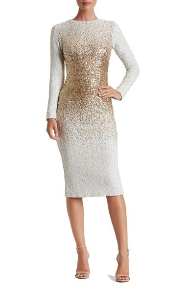 Dress the Population ~ ~ Sequin Midi Dress  -- GOLD ---  Snow-white sequins diffused with metallic shine create an ombre dimension on this glistening body-con dress that is also quite modest.  Long sleeves, jewel neckline, back slit, dress is fully lined.  Fabric is 90% polyester plus 10% Spandex.      Nordstrom's   This is a beautiful white dress that has a gradual increase in the glittery gold sequins in the dress torso and then it gradually tapers off back to white.  Very stunning effect.