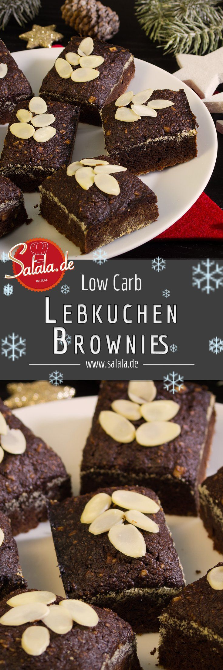 Leckere Low Carb Lebkuchen Brownies - Du bist auf der Suche nach einem leckeren, weihnachtlichen und glutenfreiem Low Carb Rezept für Lebkuchen Brownies? Dann bist Du bei uns genau richtig :D