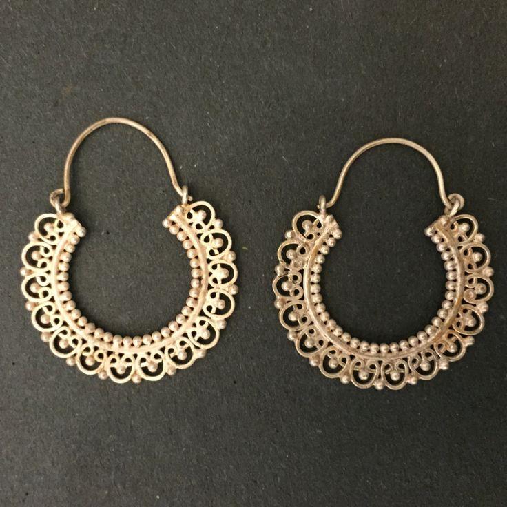 Gold Plated Silver Indian handmade Hoop Earrings by Jaipurmahal on Etsy https://www.etsy.com/listing/218308649/gold-plated-silver-indian-handmade-hoop