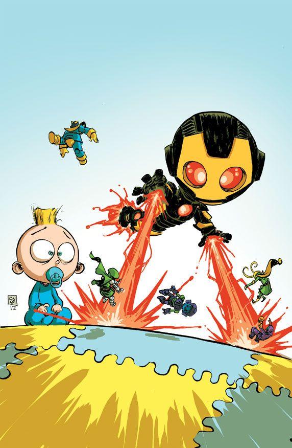 Illustration iron man X-men comics Deadpool Thor Marvel avengers hulk artists on tumblr fantastic four Marvel Now Skottie Young