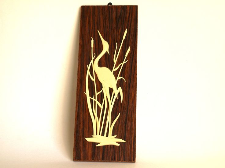 Heron Reeds Bird Wooden Wall Hanging - Mid Century 3D Stork Water River Retro Vintage Wall Plaque Made in West Germany by FunkyKoala on Etsy