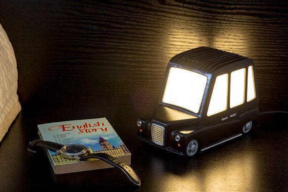 Night-light black London Cab, unique piece. Height - 13,5 cm, length - 19 cm, width - 11 cm. Made by Tilatila.