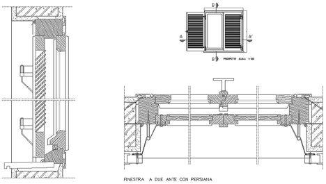 Infissi esterni con persiana persiane dwg finestre for Arredi esterni dwg