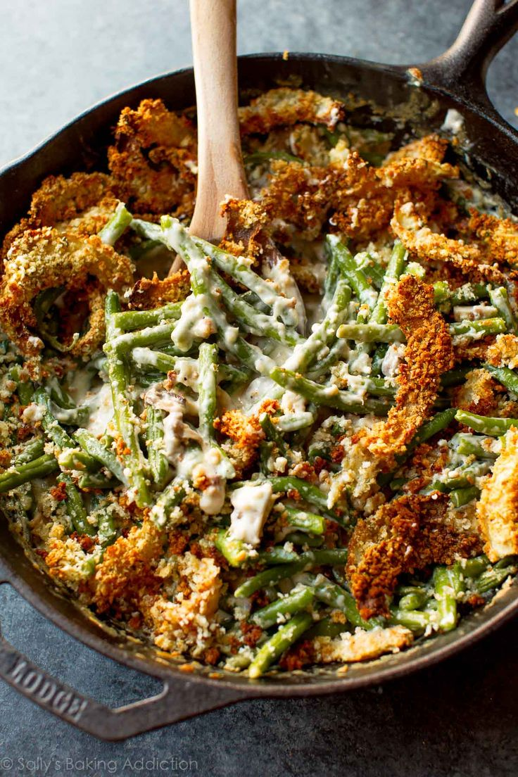 Creamy, comforting green bean casserole made completely from scratch! It's easy. Recipe on sallysbakingaddiction.com