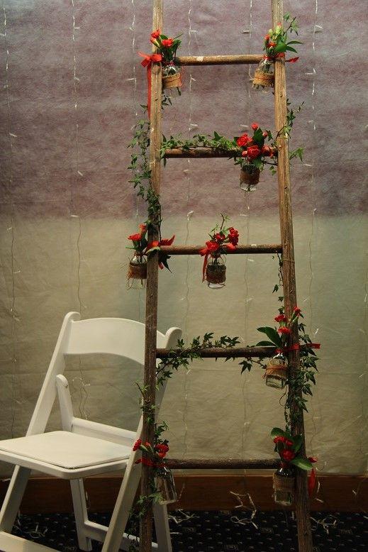 wooden ladder www.wanakaweddingflowers.co.nz/gallery/