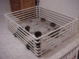 How to make your own Puppy Pen Shopping List - You can get these items at Lowe's, Home Depot, Builder's Square, or any store like them.      (10 or 11) 10′ pvc pipes     (20) corners or L's     (32) crosses     (8) T's     (8) caps     pvc pipe cutter     tape measure     pvc glue (optional)     rubber mallet