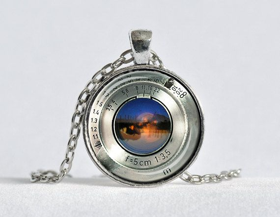 pin sterling silver necklace dainty photography camera