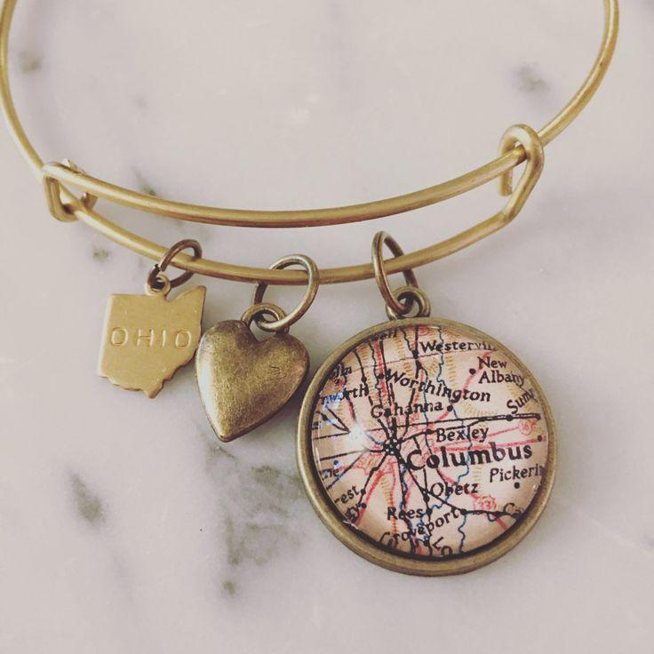 Bexley, Ohio Map Charm Bangle Bracelet
