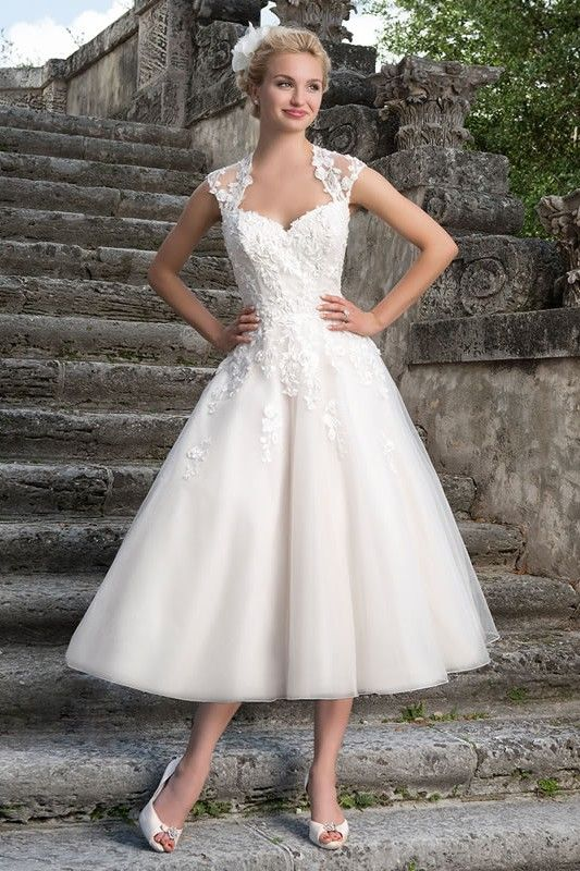 25 best ideas about tea length wedding on pinterest tea for Silver tea length wedding dresses