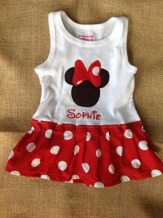 Minnie Mouse Dress -Personalized - Boutique Style - Shirt or Tank - Infant Toddler - Birthday - Disney - Minnie Outfit via Etsy