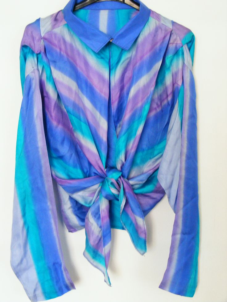 Late 1970s 100% silk blouse with draped shoulders