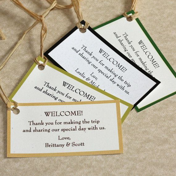 Wedding Welcome Gift Tags Set of 60 by willowglenstationery, $30.00