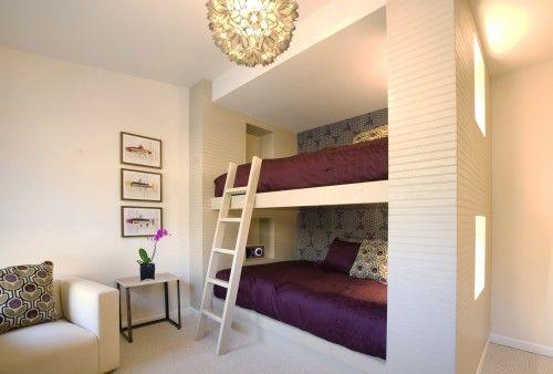 single-wall wallpaper, color scheme good for winter, lighter throws for summer: Built In, Bunk Beds, Bedrooms Design, Bunkbed, Guest Rooms, Beds Design, Girls Rooms, Modern Bedrooms, Kids Rooms