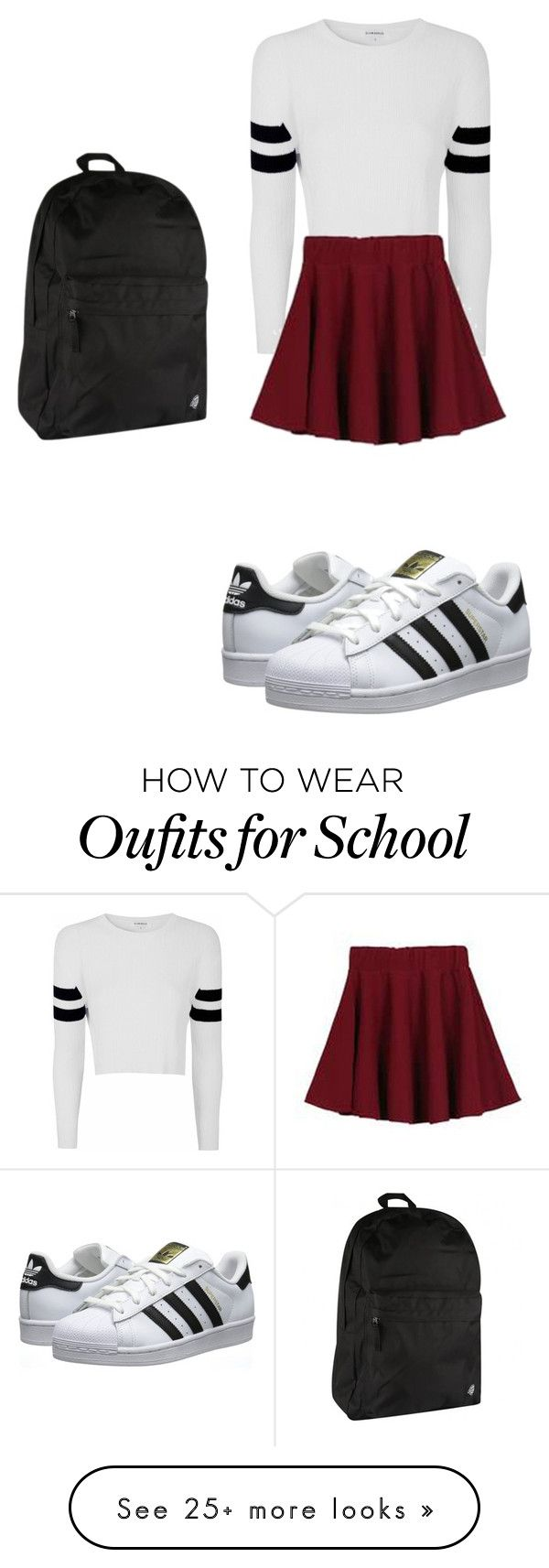 School outfit by hannaahmariie on Polyvore featuring Glamorous, adidas Originals and Dickies