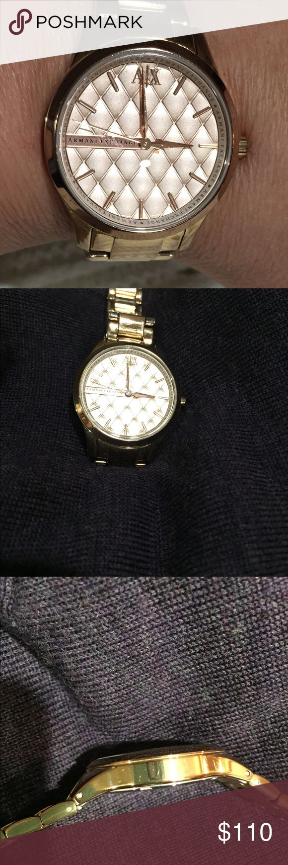 Rose Bracelet Armani Exchange Ladies Watch This rose gold chronograph represents a statement wrist accessory to complete the look with a trendy touch.  Used but in great condition — minor signs of wear Might need a battery. A/X Armani Exchange Accessories Watches