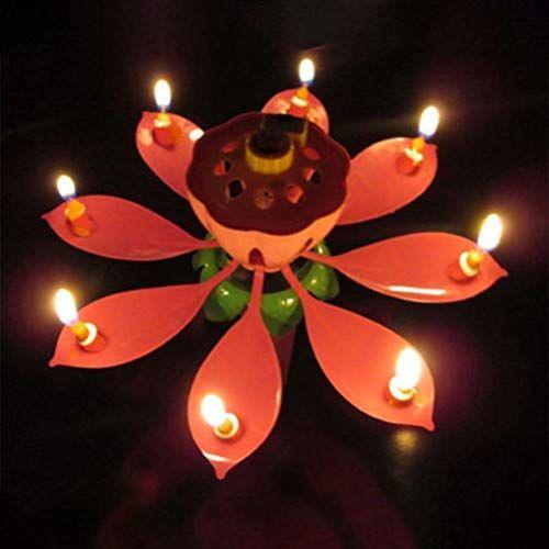 bougies de musique bougie de fleur de lotus 2pcs romantique joyeux anniversaire magique fleur musicale bougies danniversaire cadeau