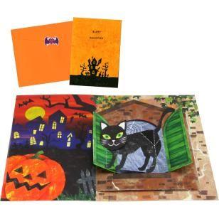 Pop-up Card (Halloween/Black Cat),Craft Cards,Card,Halloween,pumpkin,Pumpkin ,cat,bat