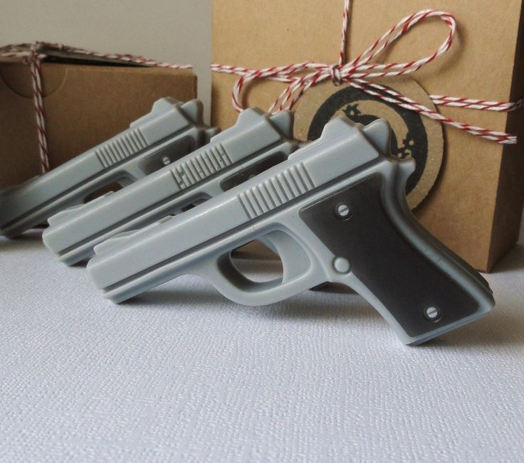 Gun Soap  - Mini Pistol Box Set of 4 - Goats Milk and Glycerin Soap - Gift Set - Scented Extremely Sexy for Men. $7.50, via Etsy.