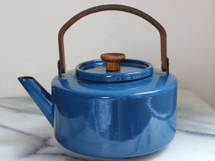 Vintage Blue Enamel Copco Tea Kettle, Michael Lax Design, Mid Century Modern by…