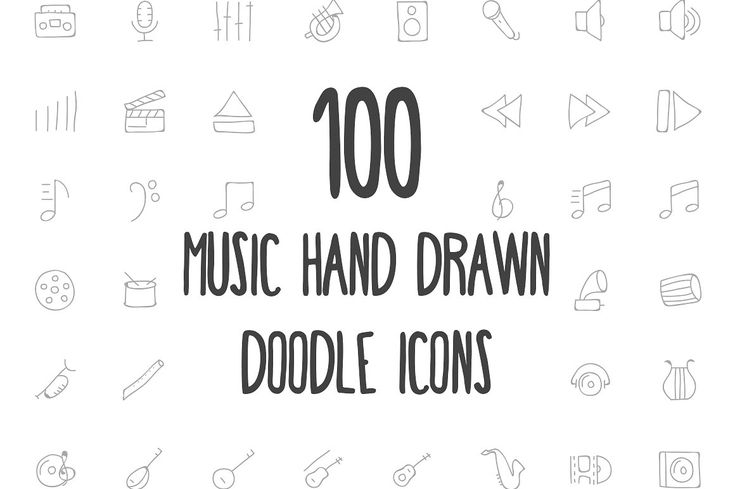 100 Music Hand Drawn Doodle Icons by Creative Stall on @creativemarket