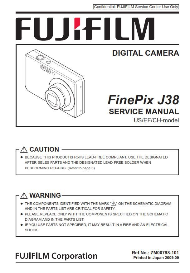 Fujifilm Finepix J38 Digital Camera Service Manual Repair Guide Fujifilm Finepix Finepix Repair Guide