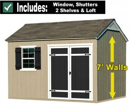 12x8 Shed with Window, Storage Loft and Two Shelves