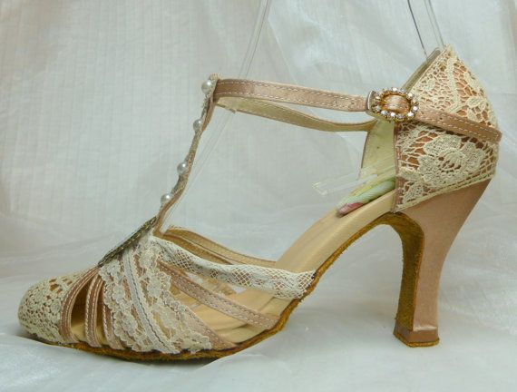 Gatsby Wedding Shoes T Strap 1920s Antique Lace Flapper Bride Personalized Design FREE Shipping Within The USA