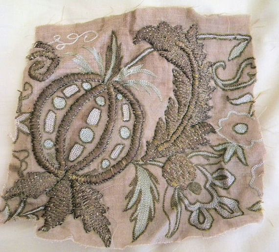 Interesting Antique Ottoman Metallic Embroidery Fruit by RuinsCa, $65.00