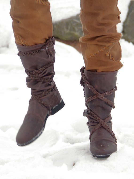 Viking Leather Boots Medieval Renaissance Shoes SCA LARP Cosplay
