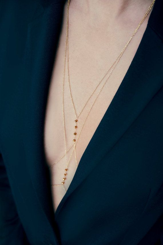 Gold Plated Body Chain Handcrafted Body Jewelery por PetitesPierres