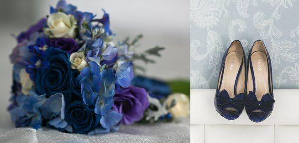 Blue wedding bouquet. Whith hydrangea, blue stable rose, creamy rose-spray, lisiantus, silver cineraria.  Голубой свадебный букет. С гортензией, голубой стабилизированной розой, с розой спрей, лизиантусом и серебристой цинерарией