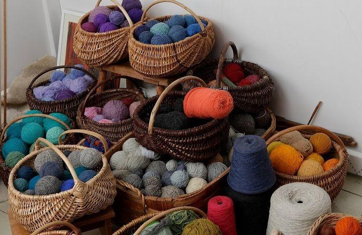 Yarns in baskets