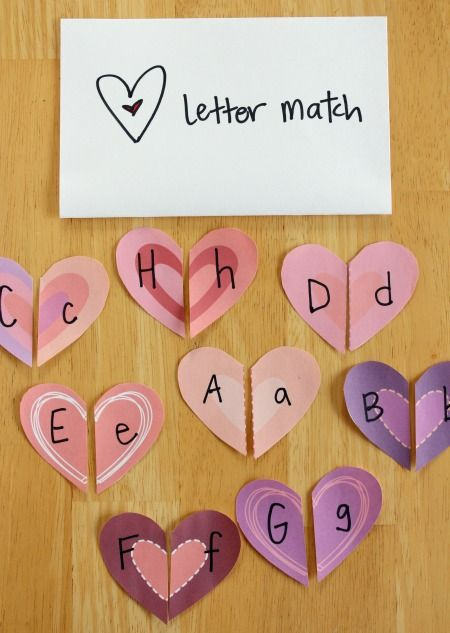 Heart Shapes Letter Match Craft from @Marie MakeandTakes.com