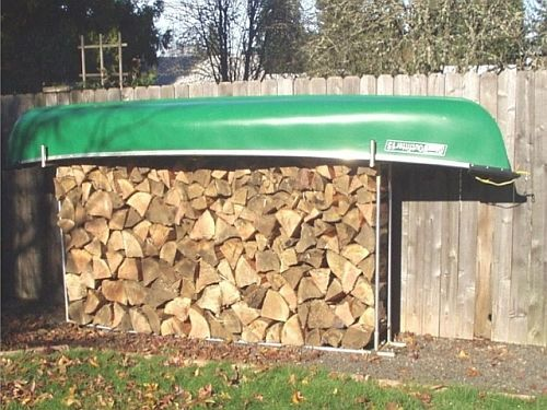 Storage for the canoe...and firewood!  Creative Shelters Photo Gallery