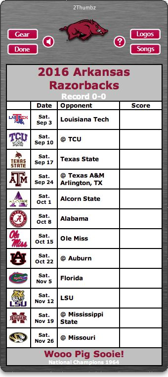 BACK OF MAC APP - 2016 Arkansas Razorbacks Football Schedule App for Mac OS X - Wooo Pig Sooie!  - National Champions 1964  http://2thumbzmac.com/teamPages/Arkansas_Razorbacks.htm