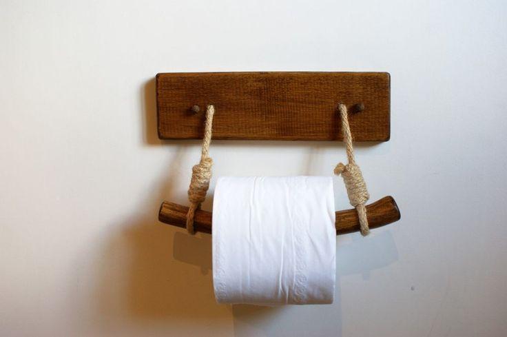 Toilet Paper Holder Bespoke Wooden Rustic Look Home