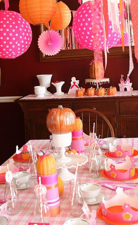 Una graciosa fiesta de princesa de calabaza - me encantan los colores! / Love the colours of this pumpkin princess party!