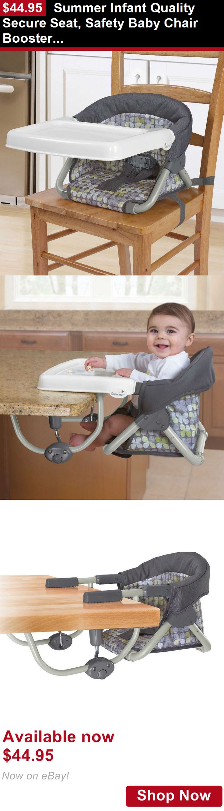 Booster Chairs: Summer Infant Quality Secure Seat, Safety Baby Chair Booster, Compact-Fold, Grey BUY IT NOW ONLY: $44.95