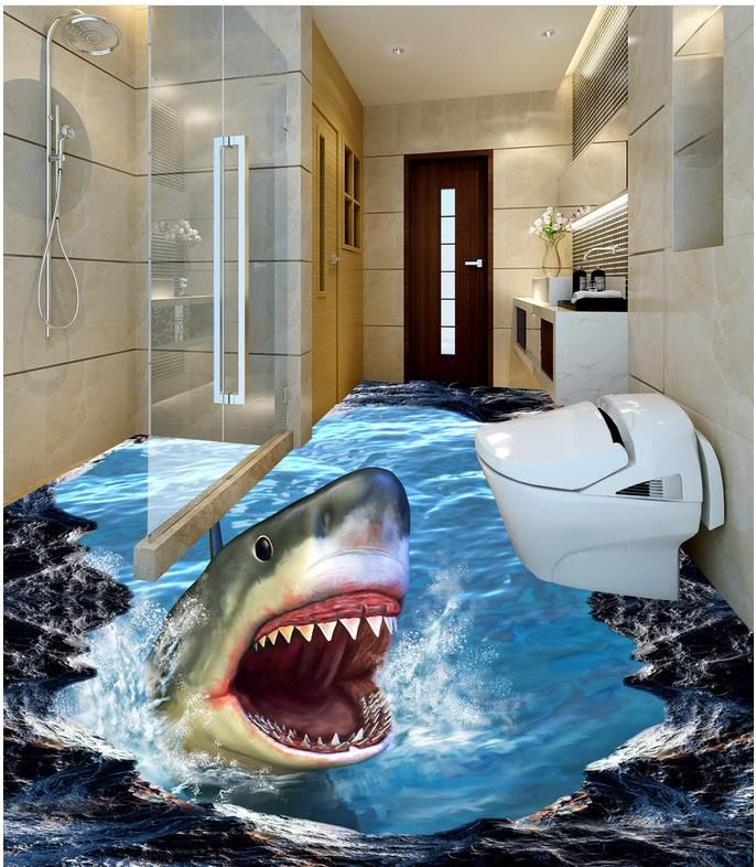 Cheap floor wallpaper, Buy Quality 3d wall murals wallpaper directly from China 3d wallpaper Suppliers: Bathroom 3d wallpaper floor 3D wall murals wallpaper floor  Floor wallpaper 3d for bathrooms dolphin Home Decoration